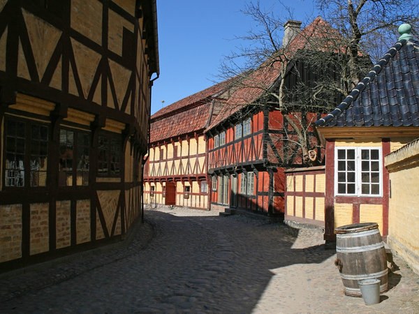Historical houses 2: A street of historical houses in Denmark.