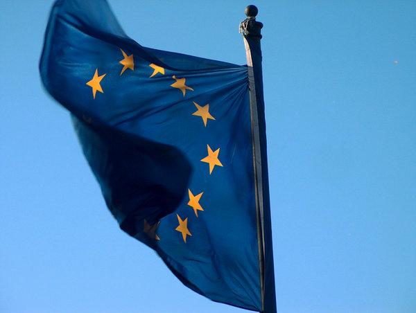 european flag: Flag of European Union in the wind