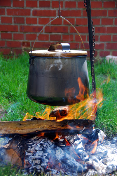 Kettle over the fire 1: Camp-fire with hanging over pot