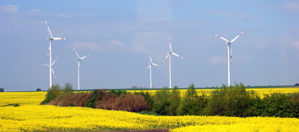 Wind energy 1: Panorame of Poland with electro wind generators