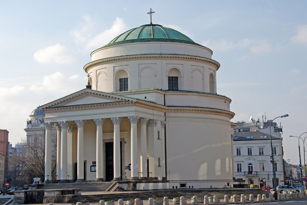 Classicistical church in Warsa: Church of Saint Alexander in Warsaw, Triple Cross Square