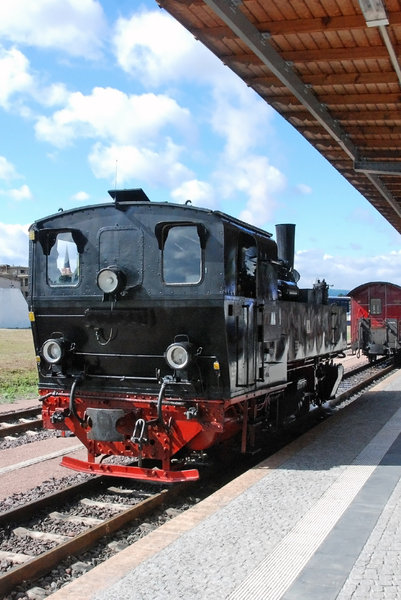 Steam locomotive in Germany 1: Old locomotive on the railway station Quedlinburg, Germany