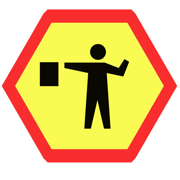 Hexagonal warning sign 3