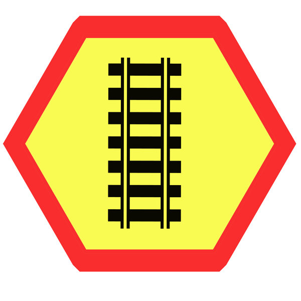 Hexagonal warning sign 1