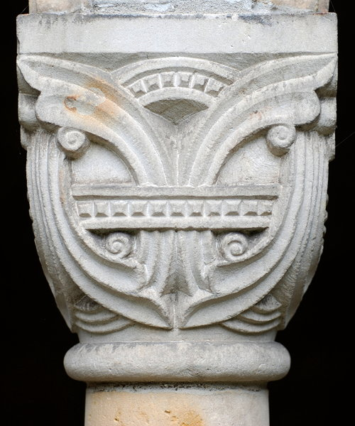 Romanesque capital  2: The crowning member of a column or a pilaster from medieval german church