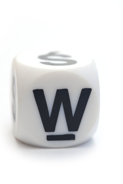 Character W on the dice: Letter on the cube