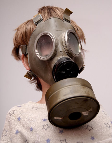 Boy in the soviet gas mask  2
