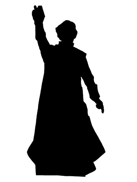 Silhouette of catholic preach: Counter reformation polish preacher Piotr Skarga with Bible in hand
