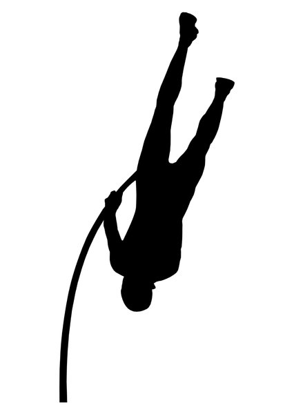 Pole vaulting 1: Silhouette of sportsman