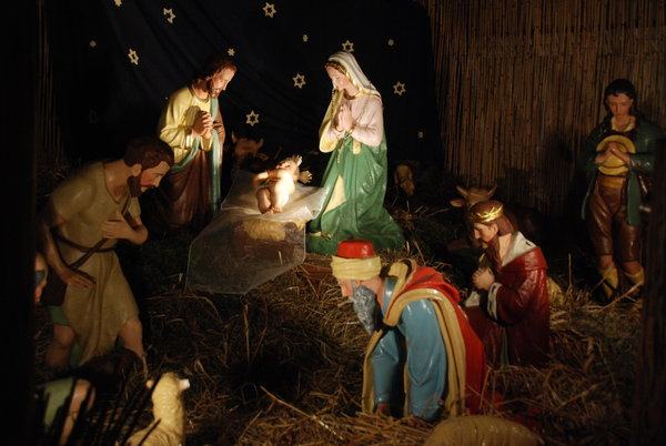 Nativity scene in polish churc: Nativity scenes exhibit (at the minimum) figures representing the infant Jesus, his mother Mary, and Mary's husband, Joseph. Some nativity scenes include other characters from the Biblical story such as shepherds, the Magi, and angels. The figures are usu