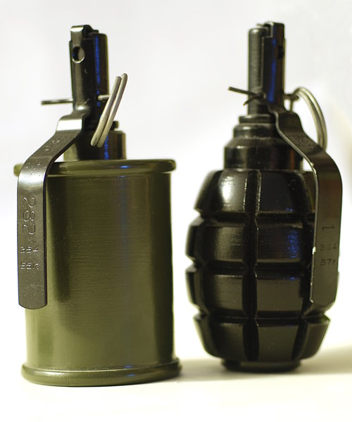Hand grenade 5: A hand grenade is an anti-personnel weapon that explodes a short time after release.