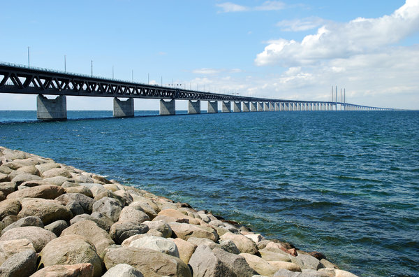 Oresund Bridge 3: Oresund bridge between Denmark and Sweden, completed july 2000. The bridge has one of the longest cable-stayed main spans in the world at 490 metres. The height of the highest pillar is 204 metres.