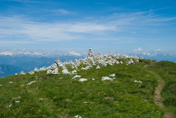 Rock Piles 3: Piles of rocks built by visitors passing at Monte Baldo, Italy.