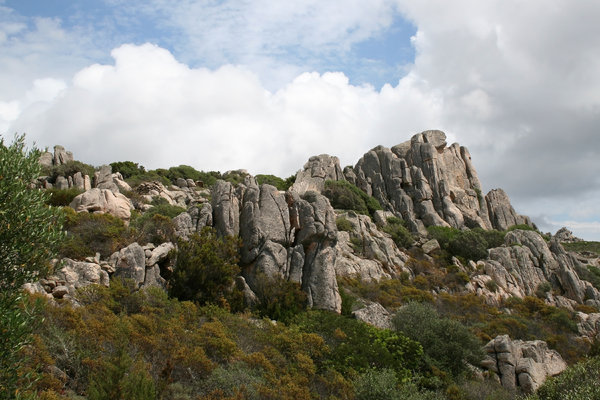 Rocky outcrop: An outcrop of granitic rock in Sardinia.