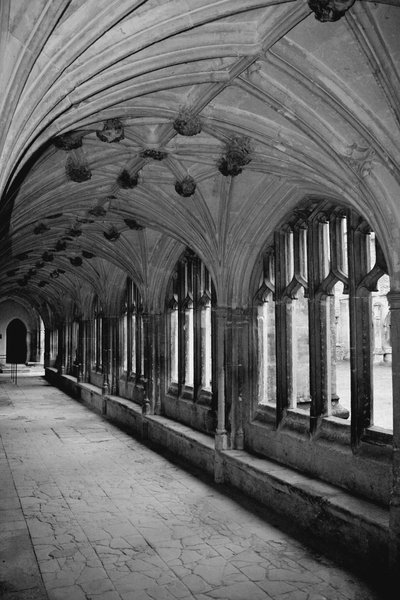Abbey cloisters in black and w