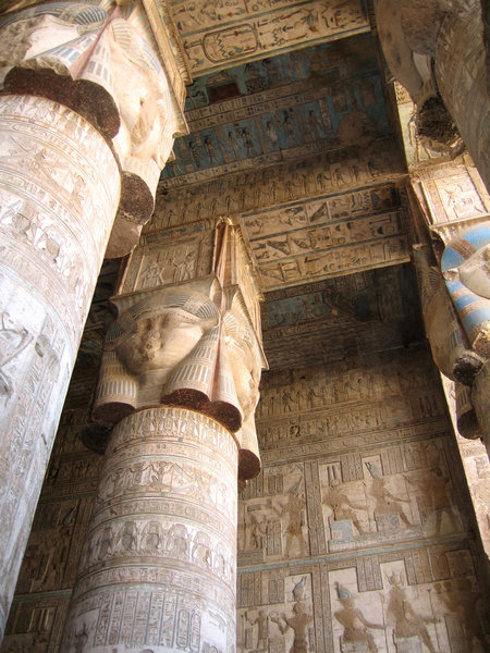 Dendara Temple: Inside the front colonnaded hall with its paintings still looking good