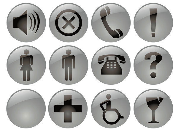 Pictograms: A lot of glossy signs in 3 color versions