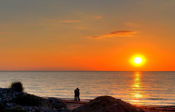 Couple in sunset - HDR