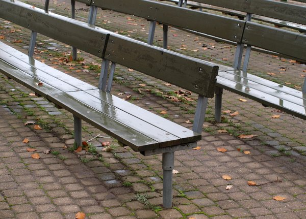 Empty outdoor benches