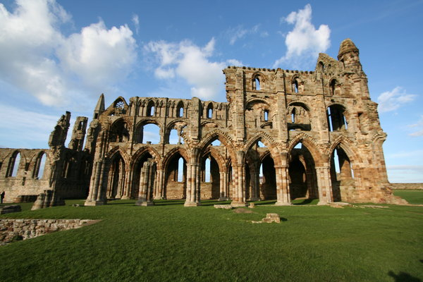 Whitby Abbey 5: Perched high on a cliff, the gaunt remains of this once magnificent abbey stand high above the picturesque seaside town of Whitby.