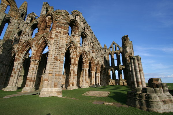 Whitby Abbey 3: Perched high on a cliff, the gaunt remains of this once magnificent abbey stand high above the picturesque seaside town of Whitby.