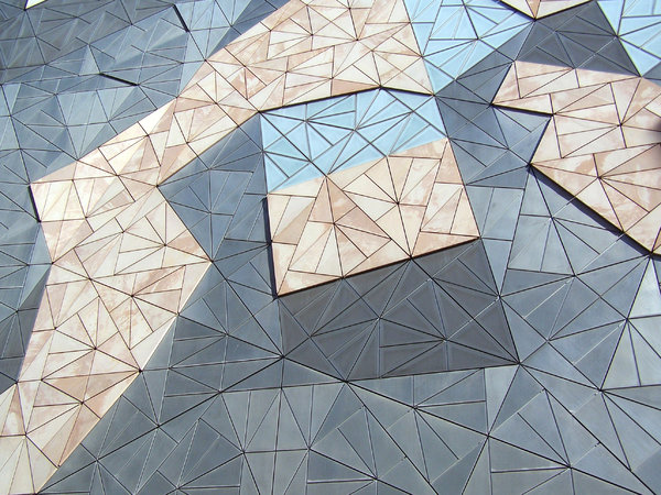 Mosaic geometry: Side of building at Federation Square, Melbourne