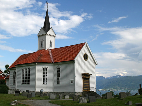 Norwegian church: A village church by a fjord in Norway.