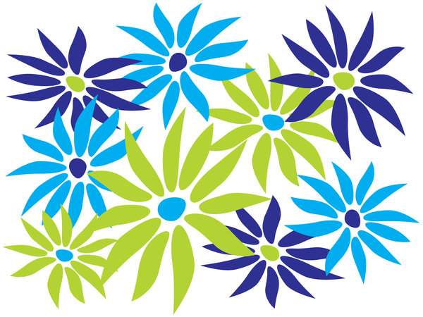 Abstract Daisies: Abstract daisies -blue and green theme.