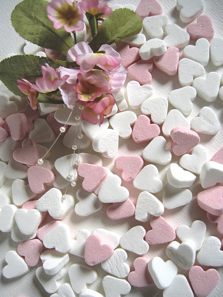 Pink candy hearts: