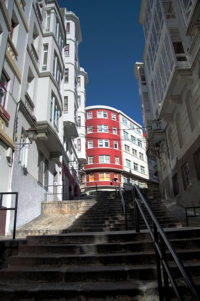 Upstairs in the old city: Upstairs & Downstairs in the old city of A Coruña.