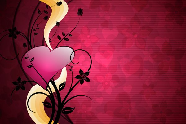 Power of Love 3: Black floral with heart on a pink or yellow background