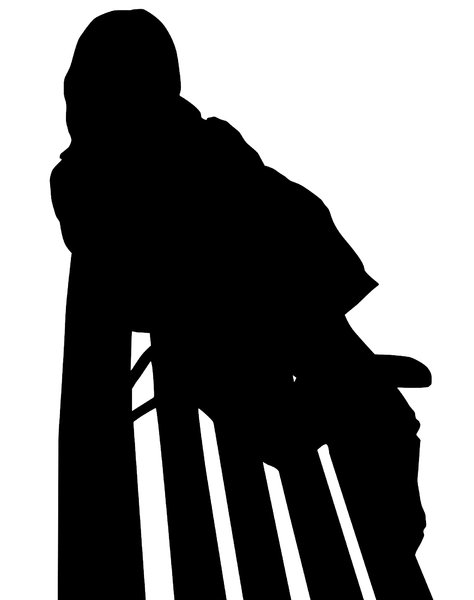 Girl on bench silhouette