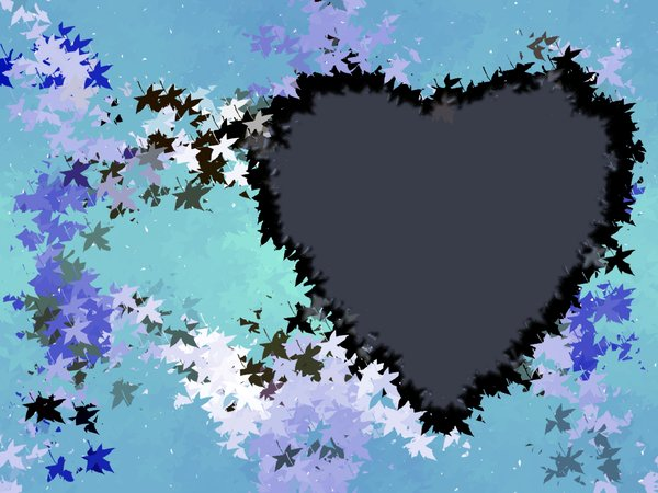 Leafy Heart 2: A grungy, leafy background with a heart shape. This could be used for a frame and scrapbooking as well.