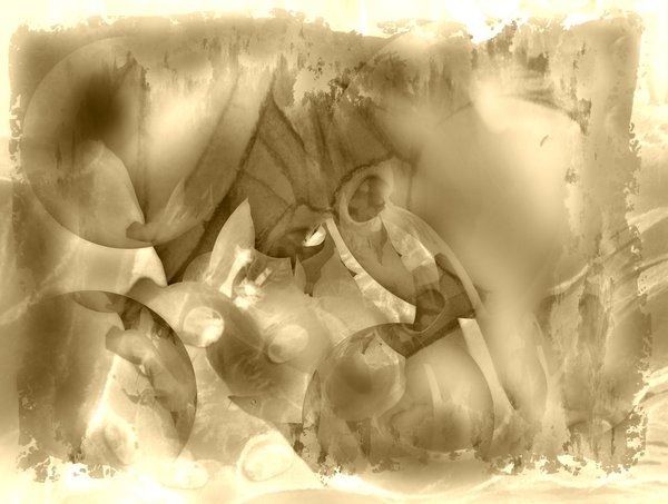Sepia Abstract: Abstract background with circular and swirly shapes.