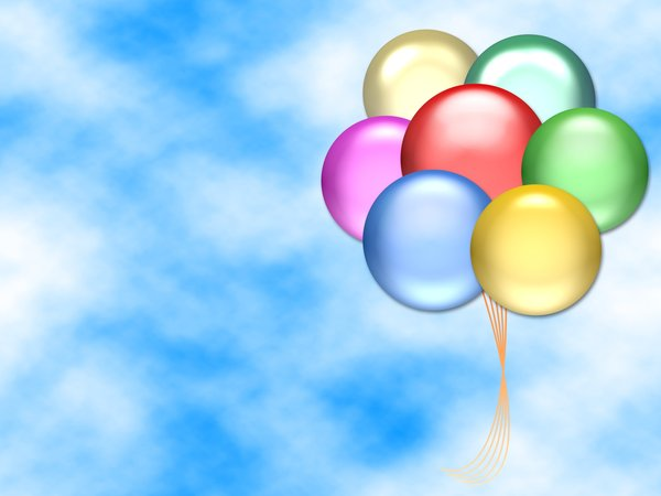 Balloons 2: Graphic of balloons on a sky background with copyspace. Primary colours.
