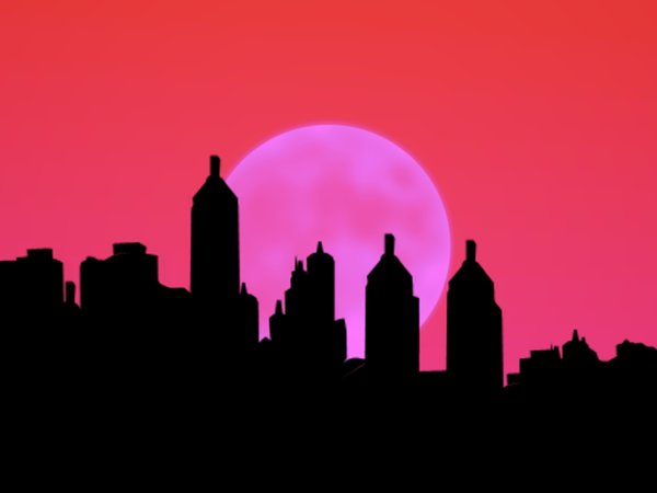 City Sillhouettes With Moon 2
