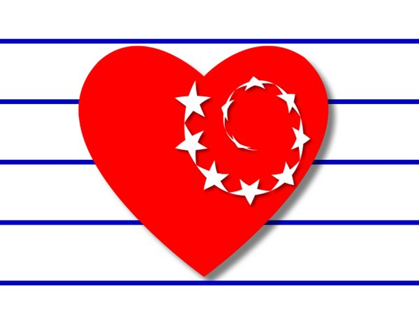 Patriot Heart: Red, white and blue. Heart with stars on striped background. Can represent several countries.