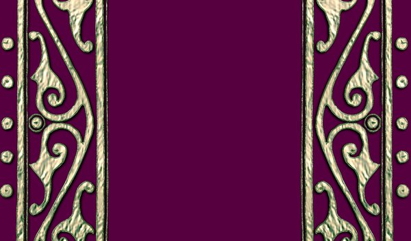 Old Book Cover: Ancient patterns in metal on the outside of a book cover in maroon, purple and black. May be suitable for diary covers, etc.