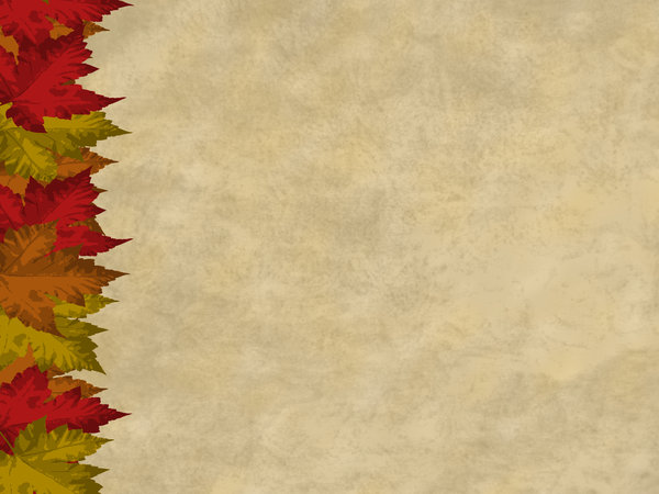 Autumn Leaves Card 2: Card with autumnal maple leaves motif and parchment background.  Lots of copyspace.