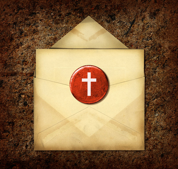 Cross Collage: A cross button on a vintage envelope.Please visit my gallery at:http://www.stockxpert.com ..