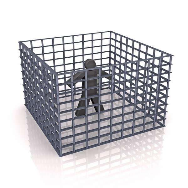 Person: jail: An abstract picture of a person in jail or caged. This picture can also be used to illustrate an isolated person or so.