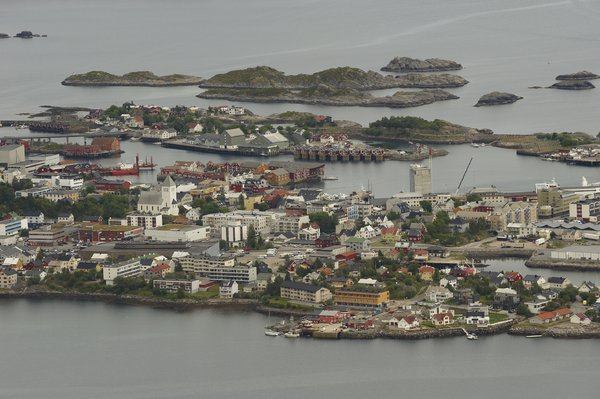 Islands: beautiful landscape in Lofoten island, norway. This is Svolvaer from a hilltop
