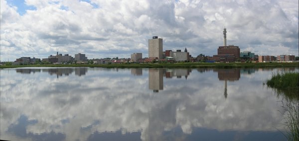 Moncton Skyline: This photo was taken, when there was an exceptional high tide. It is unusual for the water to be this high and clear.