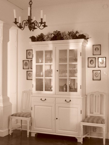 Vitrine: Old glass cabinet, shot in Sepia