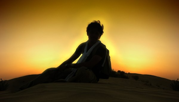 Dusk Silhouette: Self silhouette in the desert dusk