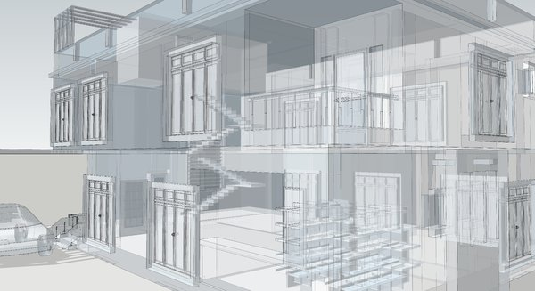 Building 3D and wireframe 5: 3D Wireframe modelling of a house