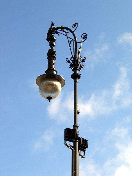 wrought-iron street lamp
