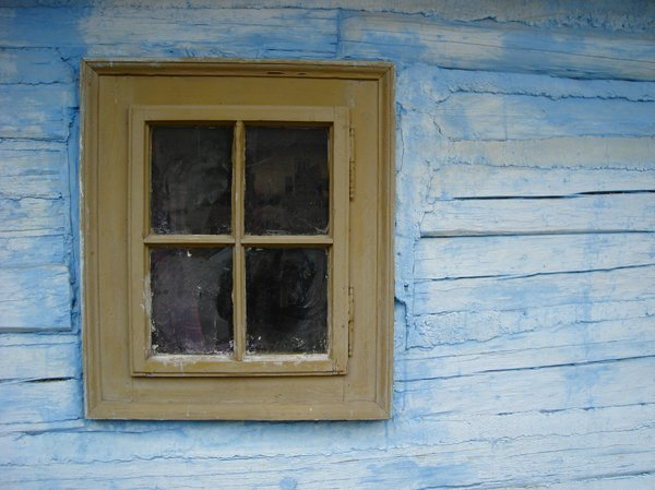 Window in wooden house