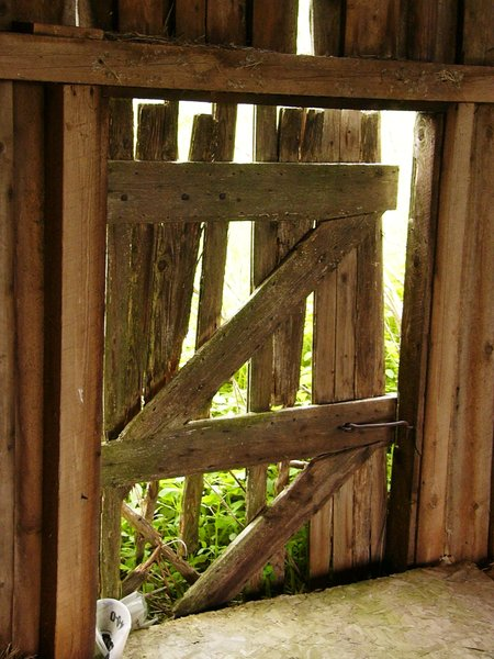 Door's Locked!: Barn door locked from the inside ... good thing, too!