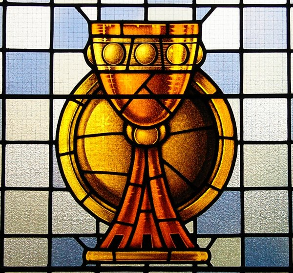 Sacraments: Stained Glass from Wolfville Baptist Church (founded 1765) Wolfville, Nova Scotia, Canada